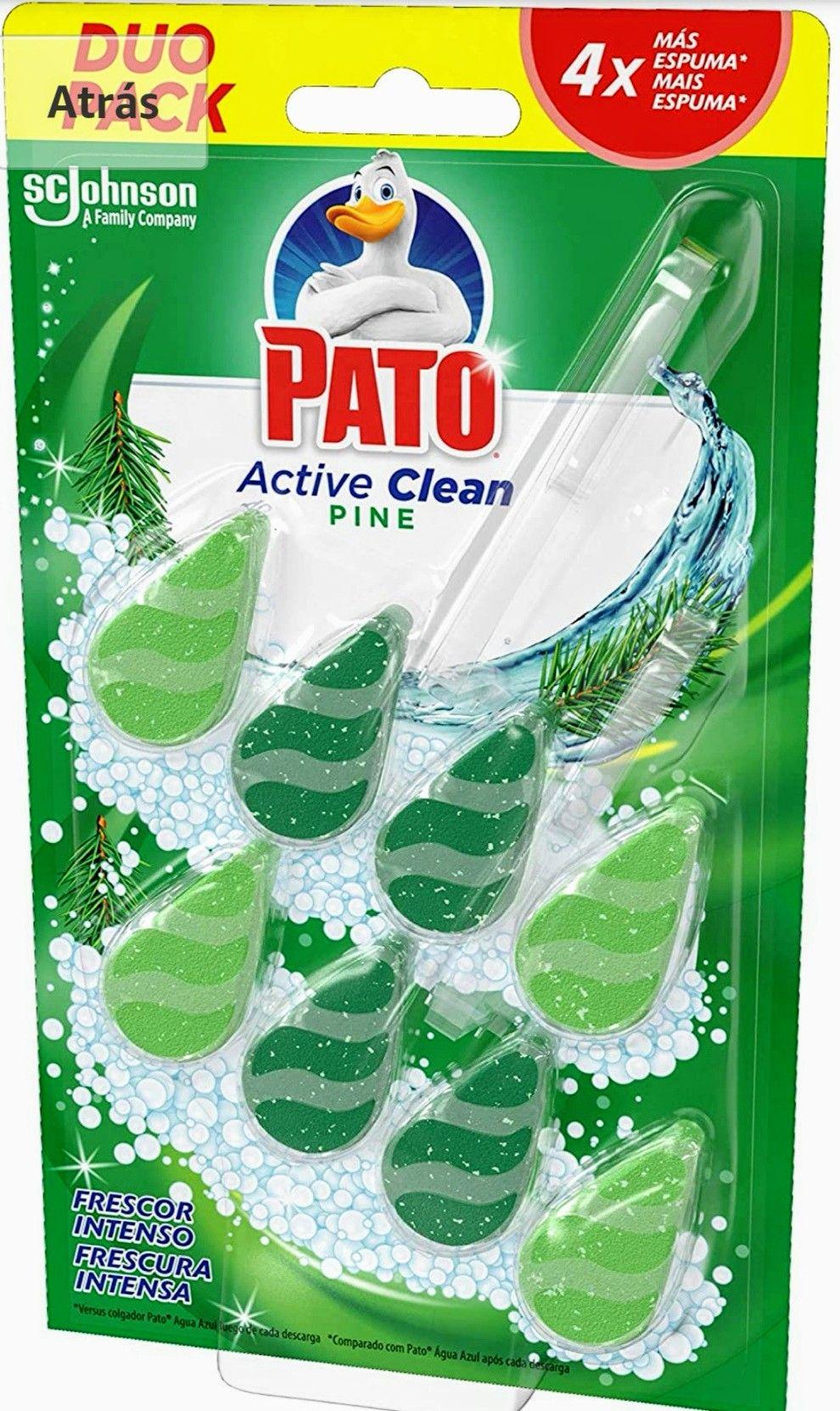 Pato - Active Clean colgador para inodoro, frescor intenso, perfuma y desinfecta, aroma Pino, 2 Unidades.