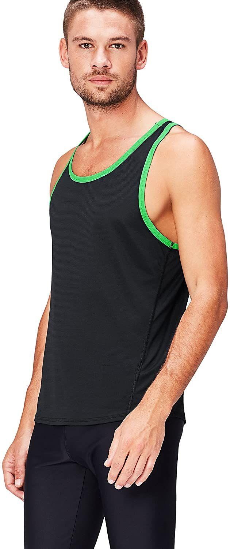 Camiseta deportiva de tirantes para caballero. Negro y verde, talla M