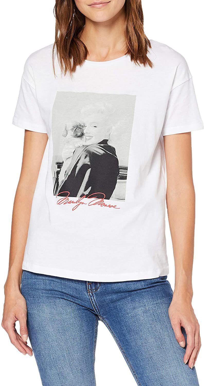 Springfield Camiseta para Mujer, estampada, talla S