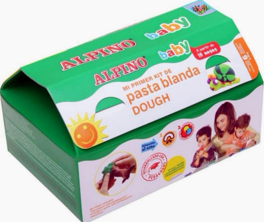 ALPINO Kit pasta blanda (6 botes + 10 moldes + rodillo)Incluye guía con ejercicios pedagógicos (precio al tramitar)
