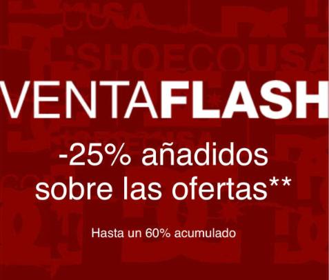 Venta flash en dc shoes, 25% de descuento extra