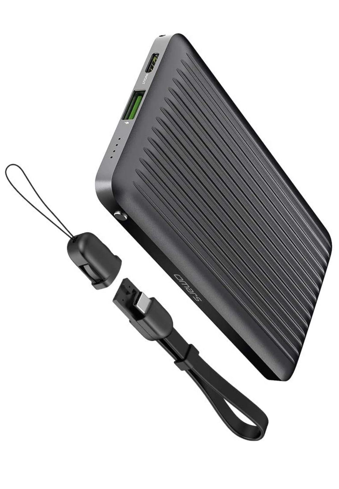 Batería externa 10.000 mAh carga rápida con cable USB A y USB-C