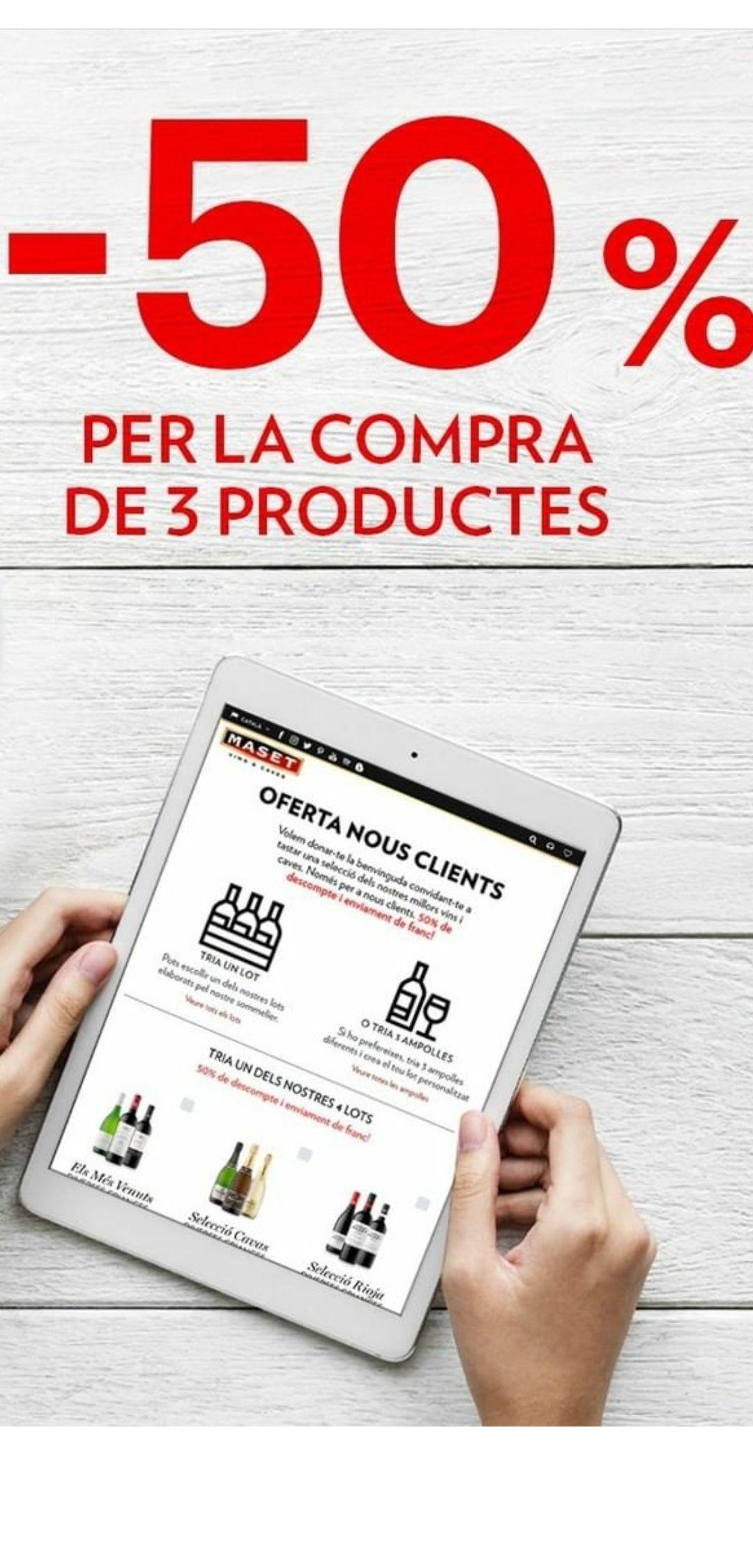 50% descuento y envíos gratis para nuevos clientes en Cavas y Vinos Maset