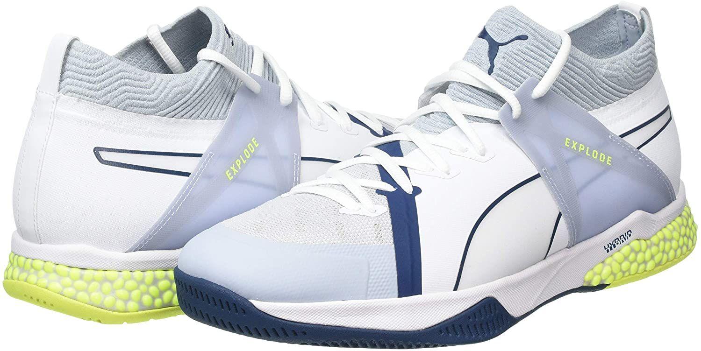 PUMA Explode XT Hybrid 1, Zapatos de Futsal Unisex Adulto, talla 37, verde y blanco
