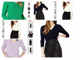 Marca Amazon - find. Camiseta con Cuello de Pico Mujer en 4 colores.
