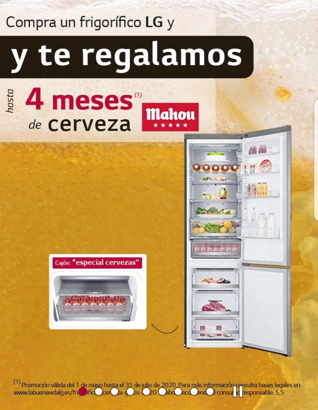 Hasta 4 meses de cerveza Mahou si compras un frigorifico LG