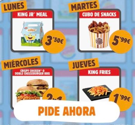 Ofertas diarias Burger king - Hoy Cubo a 5,99 !