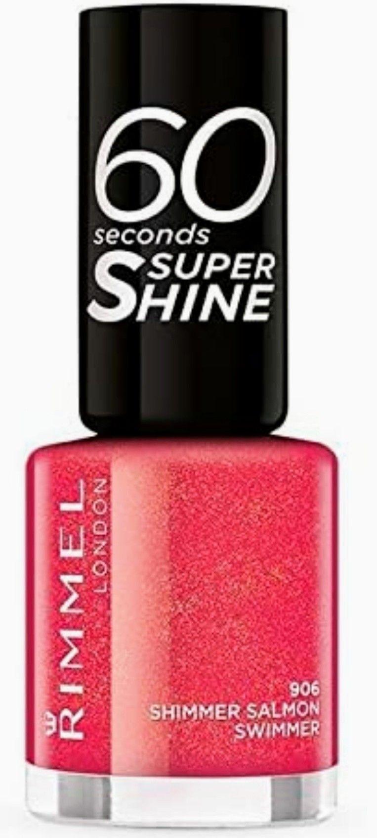 Rimmel 60 Seconds Super Shine esmalte color 906 Shimmer Salmon Swimmer