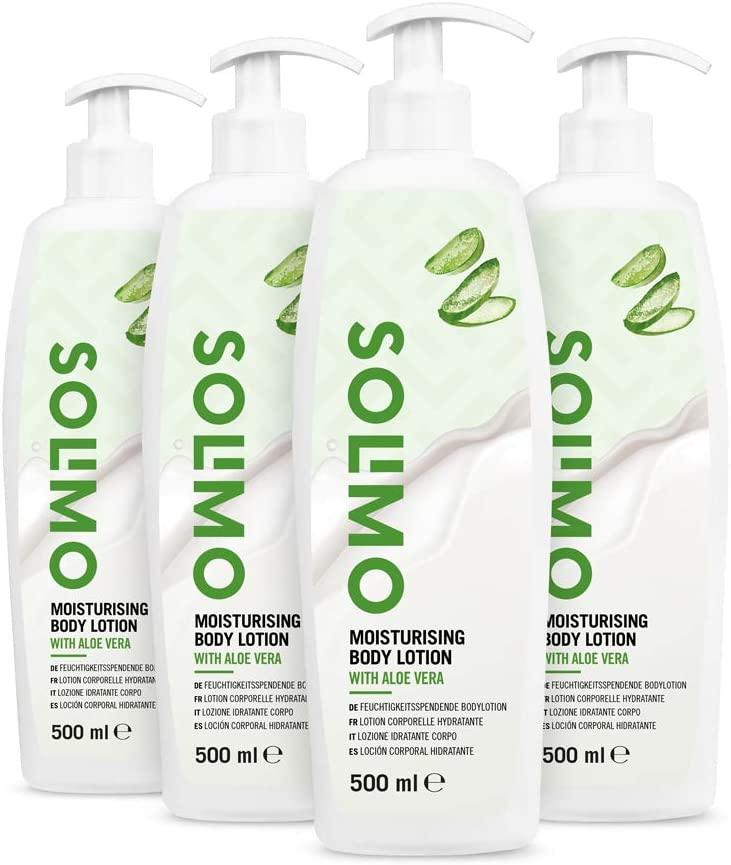 Pack 4x Loción corporal hidratante con aloe vera Solimo (marca Amzon) - 4x500ml -