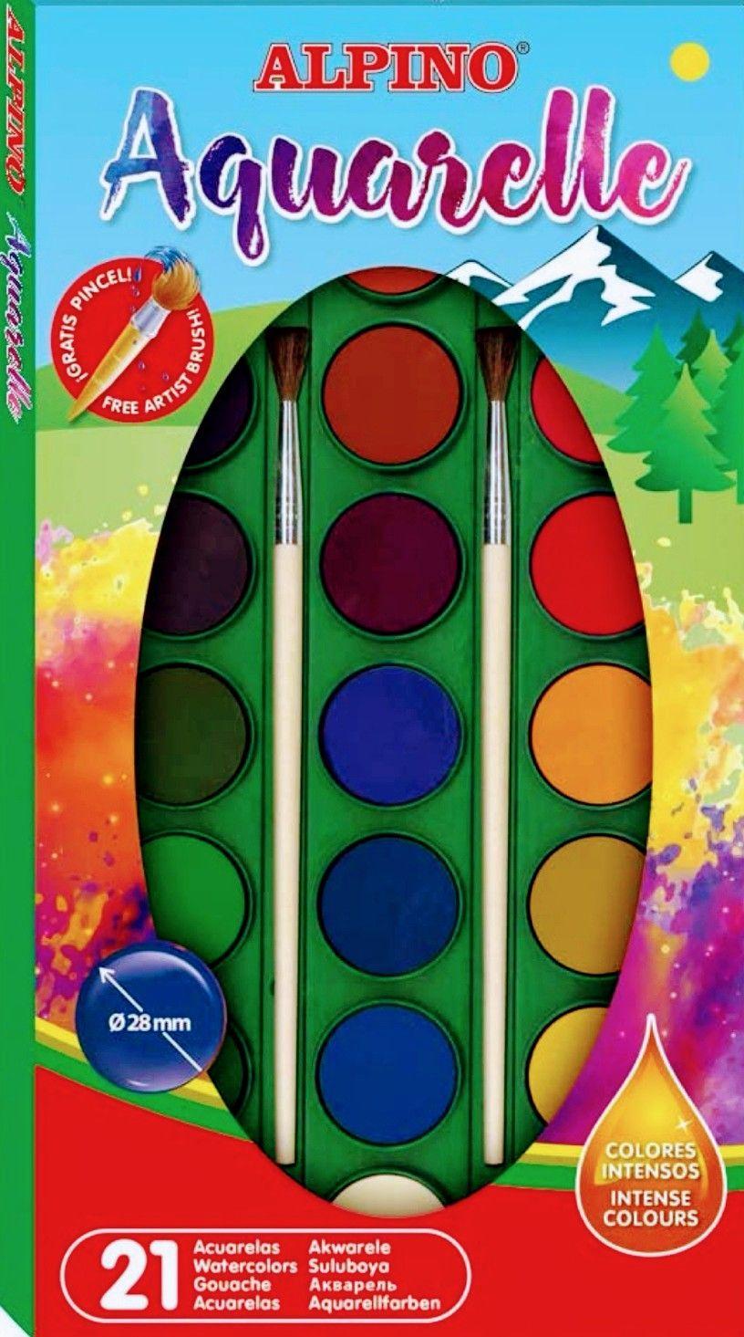 Alpino - Acuarelas colores surtidos + 2 pinceles (precio al tramitar)