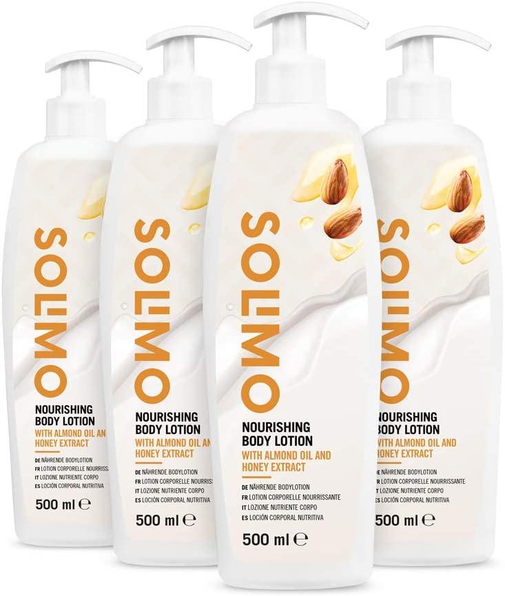 Pack 4 unidades de 500 ml - Loción corporal nutritiva con aceite de almendras y extracto de miel - Solimo (4x500ml)