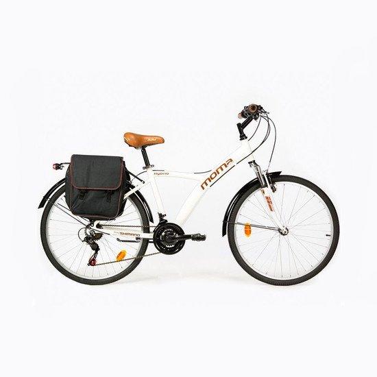 "Bicicleta Trekking Moma Bikes Paseo Shimano Hybrid 28"", Alu, 18v, Susp. Delant."