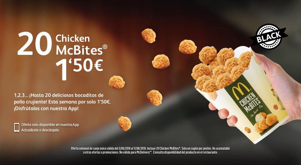 20 Chicken McBites por 1,50 € (5 - 11 junio 2018)