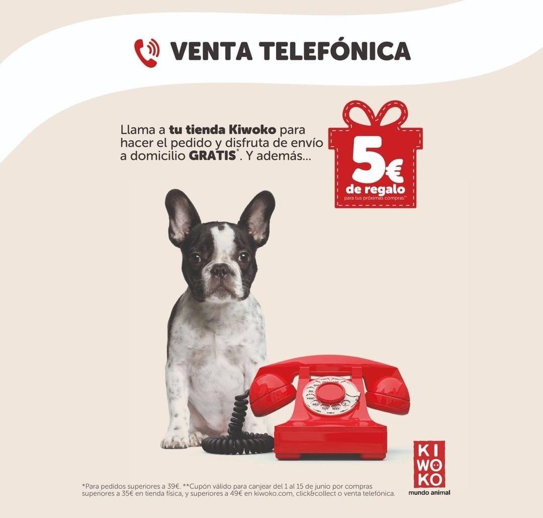 5€ de descuento por hacer tu pedido por teléfono+ Envío gratis (con mínimo)