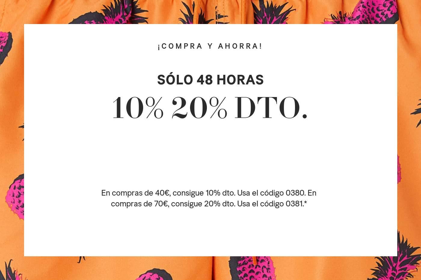 H&M 10% de descuento en compras de 40€, 20% en compras de 70€