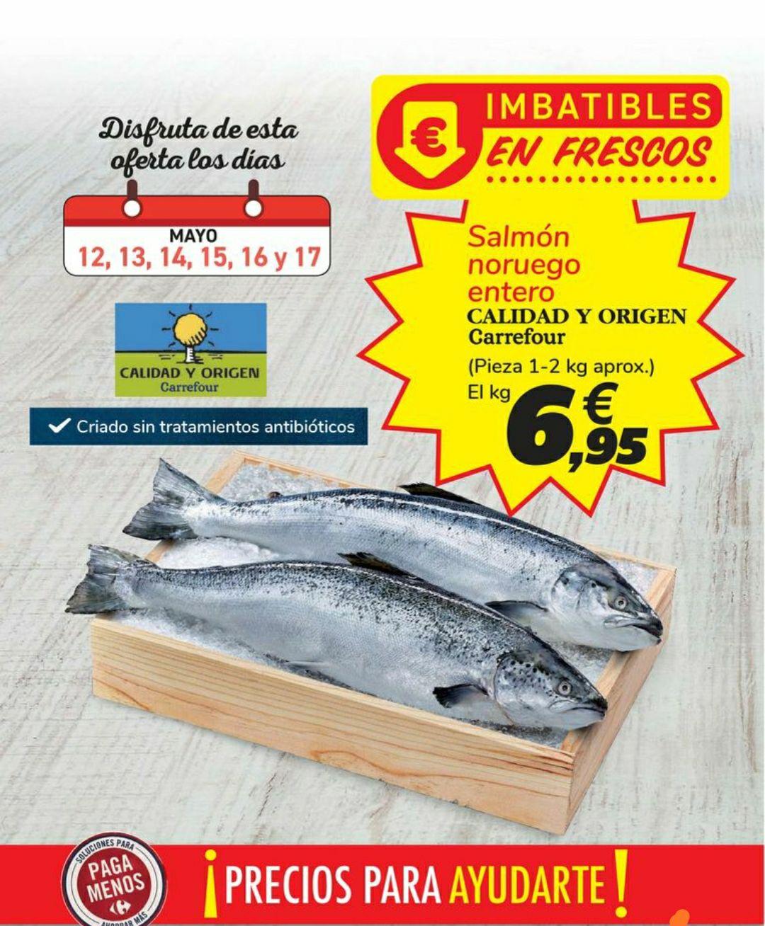Salmón entero a 6,95€/kg en Carrefour