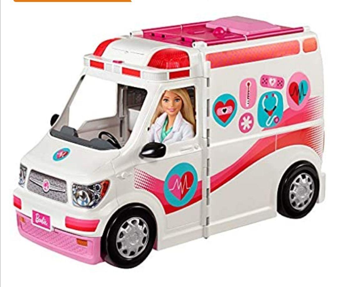 Barbie- Ambulancia de mascotas con muñeca y accesorios