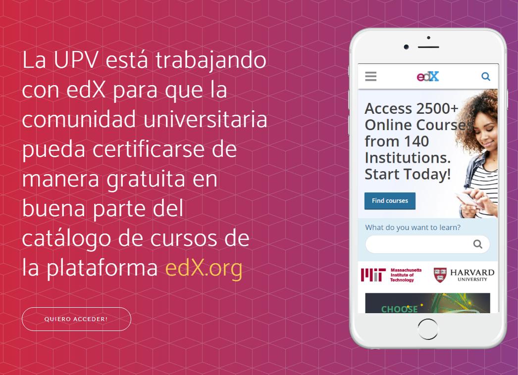 EDX + Universidad de Valencia: 5 Cursos con certificados (exclusivo correos de la UPV)