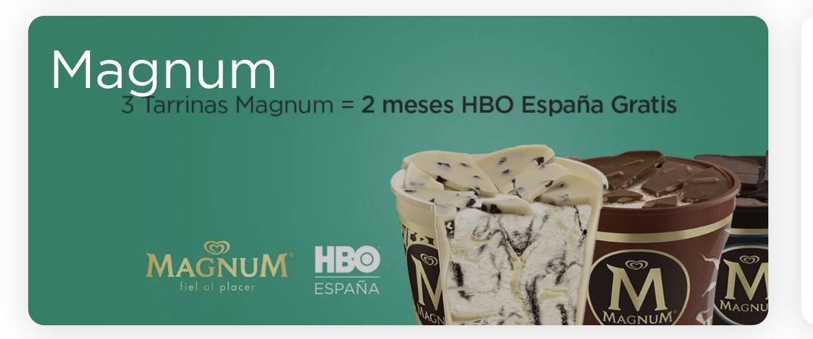 2 meses de HBO gratis comprando 3 tarrinas Magnum en Glovo Market