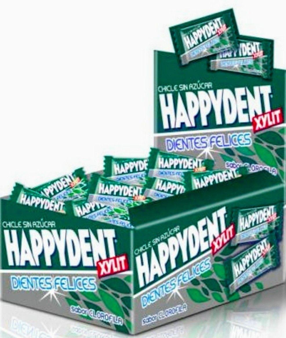 Happy Dent,Chicle Sin Azucar, sabor hierbabuena,menta o clorofila. Caja de 200 unds.