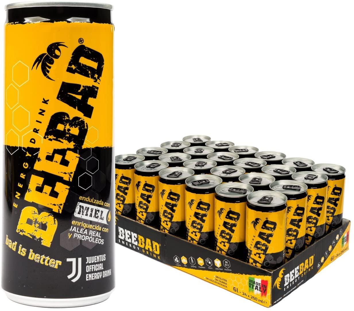 BEEBAD Energy Drink, 250 ml (Pack de 24 Latas) Bebida energética endulzada únicamente con miel. Hecha con productos naturales