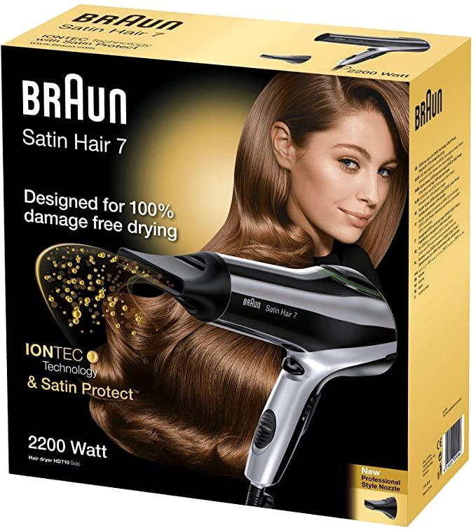 Braun Satin Hair 7 -REACO- Secador de pelo profesional con tecnología iónica, 2200 W, color negro