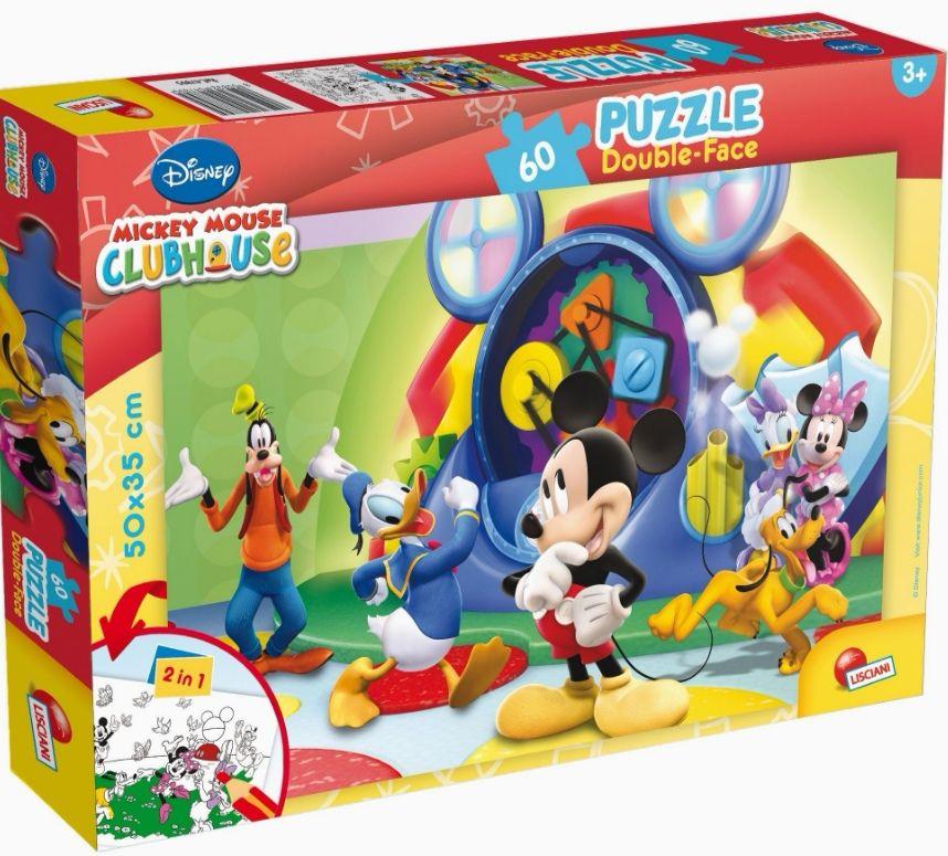Mickey mouse puzzle 60 piezas y doble cara coloreable