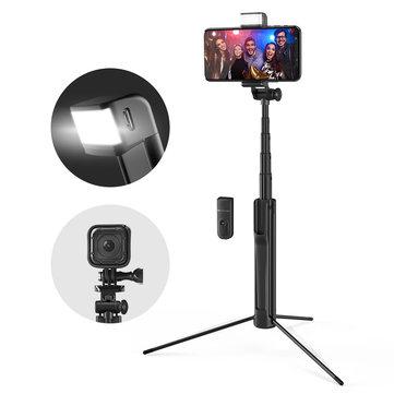 Palo Selfie Trípode con Control Remoto, BlitzWolf BW-BS8 3 en 1 Selfie Stick Bluetooth de Aluminio Extensible con Luz