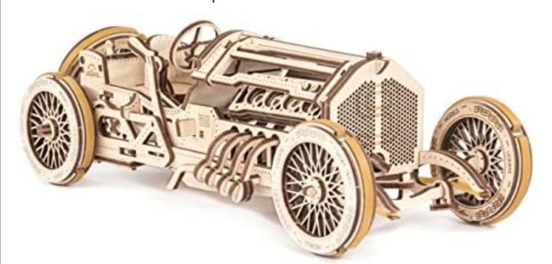 UGEARS Coche Grand Prix U-9 - Kit de Montaje Coche de carreras - 3D Rompecabezas de Madera