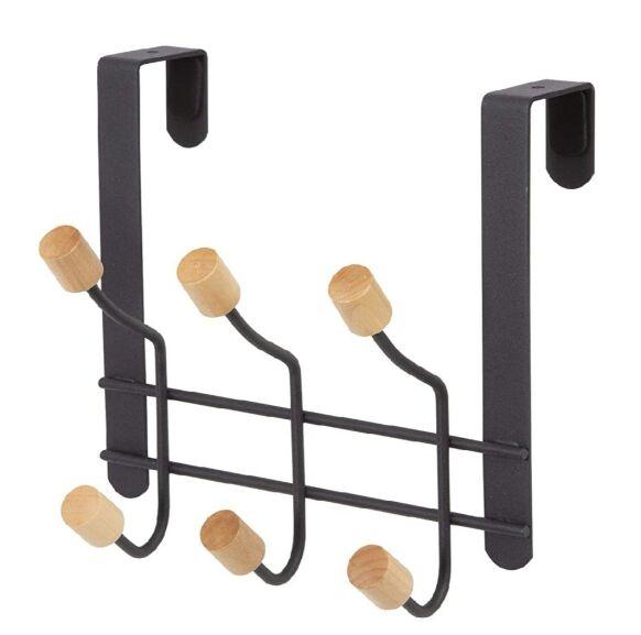 Colgador para puertas 6 ganchos de madera y Metal Lacado Negro.(Precio al tramitar)