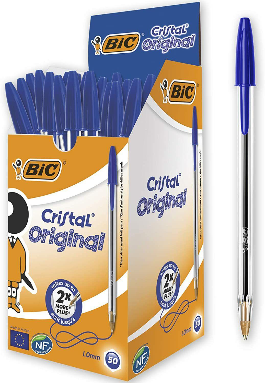50 Bolígrafos BIC Cristal Original Azul (1,0 mm)