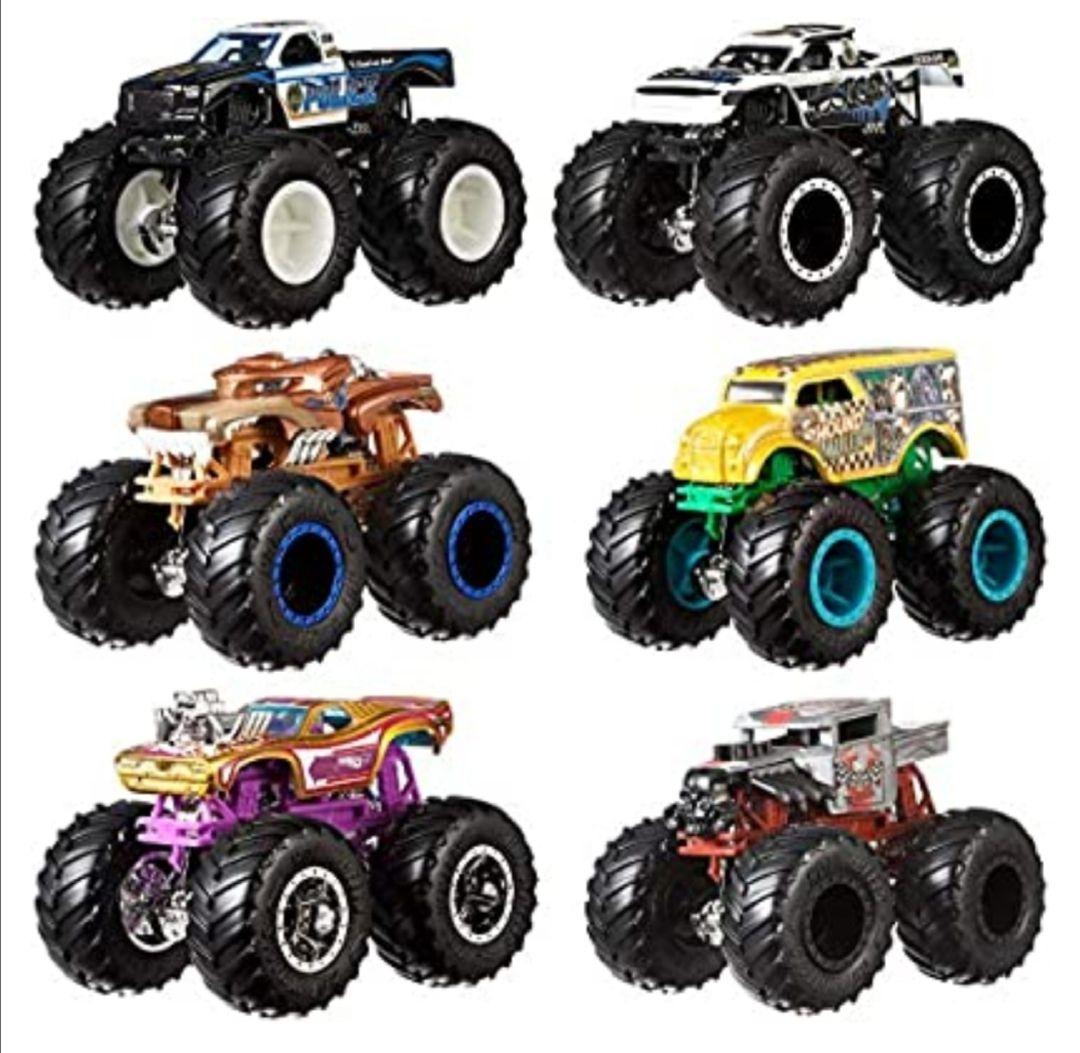 Mattel - Hot Wheels Monster Truck Duos FYJ64 de Demolición, modelos aleatorios, paquete de 2