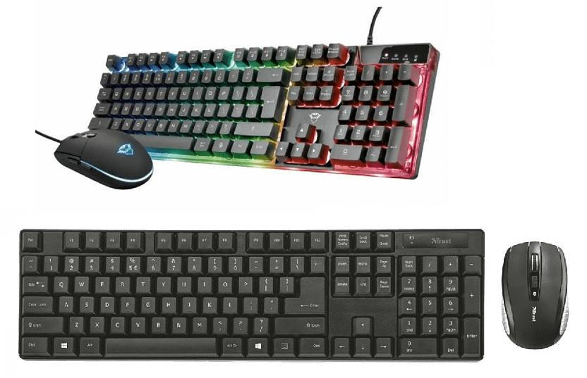 Packs de ratón + teclado Trust, uno alámbrico y otro inalámbrico