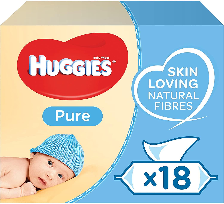 Huggies Pure Toallitas para Bebé - 18 paquetes 14,19€ (compra recurrente 11,1€)