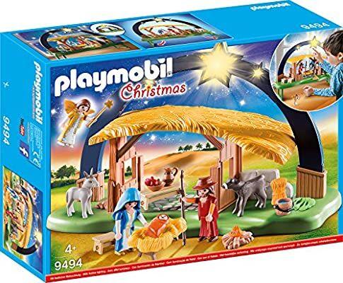 PLAYMOBIL Christmas Belén con Luz y patas plegables,