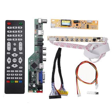 Controlador de TV LED LCD Controladores TV/PC/VGA/HDMI/USB + 7 Botón de tecla + 2 Canales 6bit 30 Pines Cable LVDS + 1 Inversor de lámpara