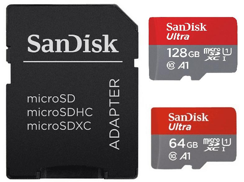 Tarjetas micro SD Sandisk Ultra de 64 y 128 GB con velocidades de hasta 100 MB/s