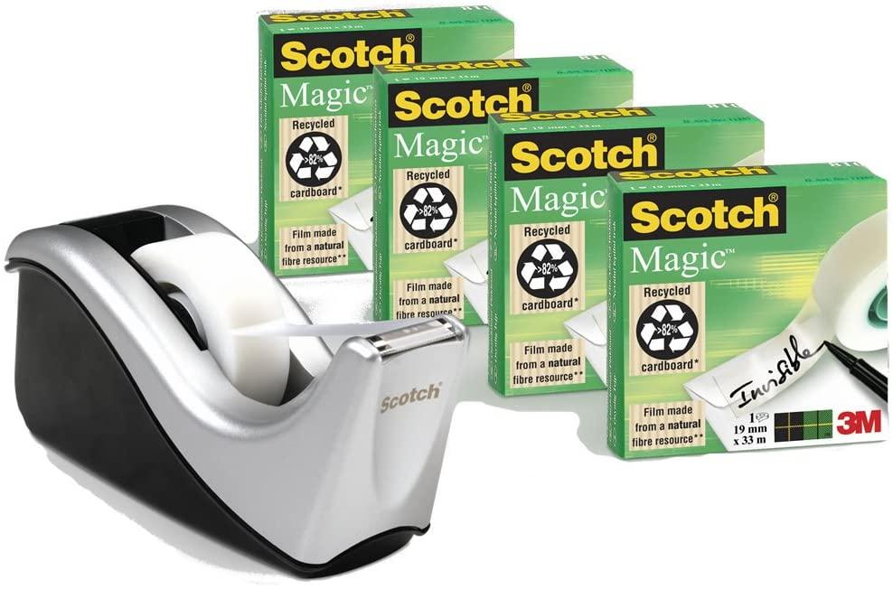 Scotch Magic - Portarrollos de sobremesa con 4 cintas adhesivas, rolos mates y transparentes
