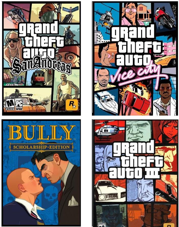 Bully / GTA 3 / GTA SA / GTA Vice City - Rockstar - GRATIS