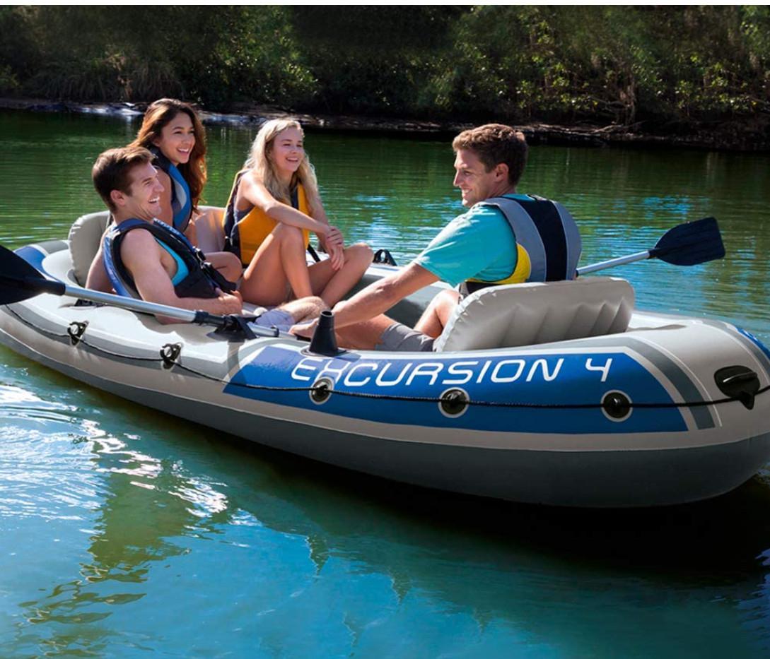 Barca hinchable Intex Excursion (4 plazas, 2 remos aluminio, 315 x 165 x 43 cm)