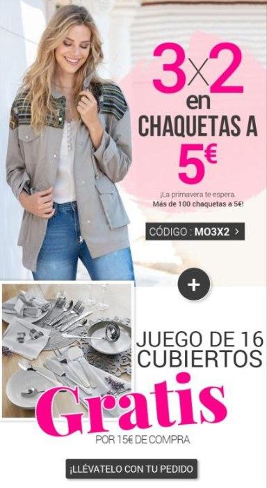 3x2 en chaquetas de 5€ y juego de cubertería gratis