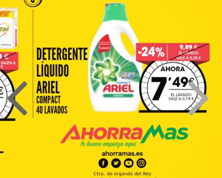 Detergente Ariel Liquido Compact 40+4 extra