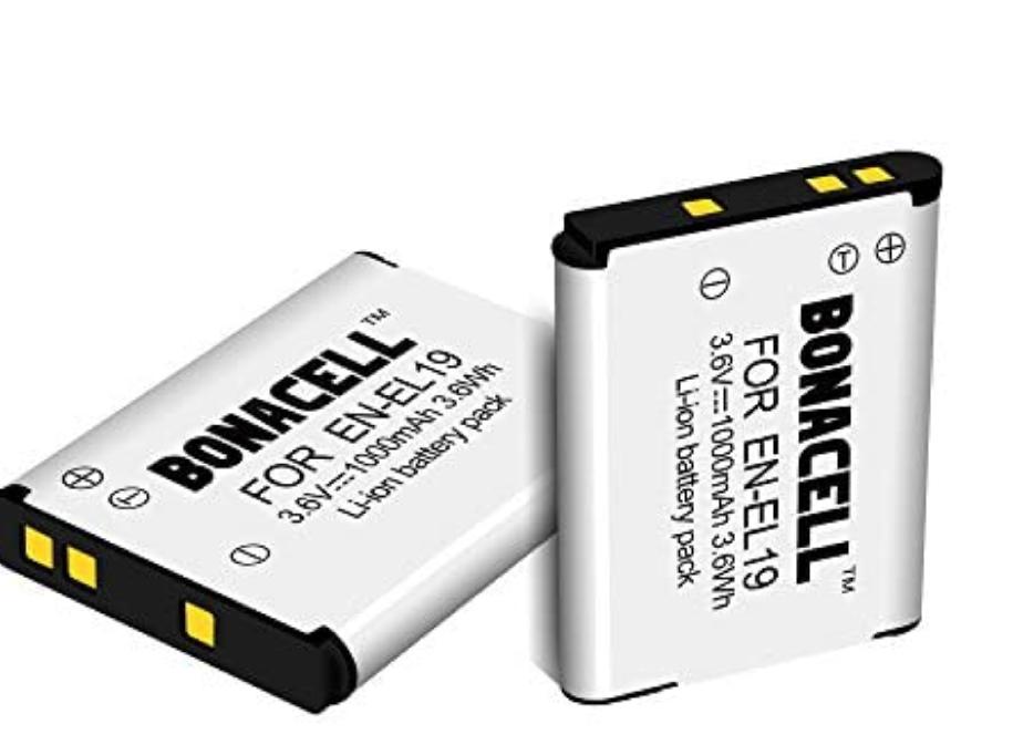 4 Baterías de repuesto para Nikon Coolpix de 1000mAh. Modelo EN-EL 19.