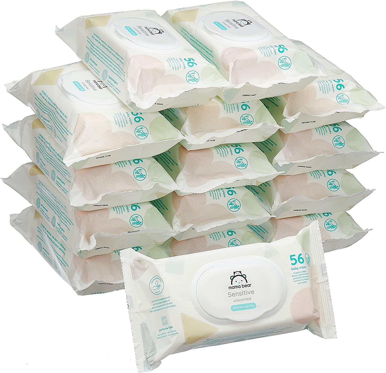Marca Amazon - Mama Bear Sensitive Toallitas húmedas para bebé - 15 Paquetes
