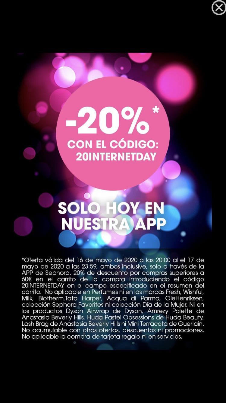 20% de descuento (gastando 60€) en SEPHORA sólo en la APP