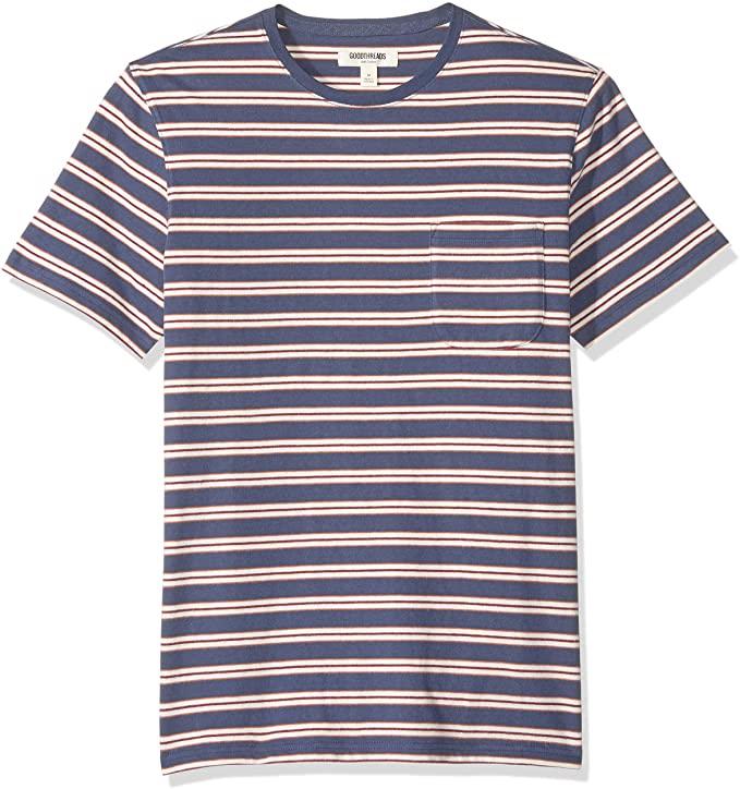 Camiseta de manga corta, color Denim retro Stripe, talla M grande
