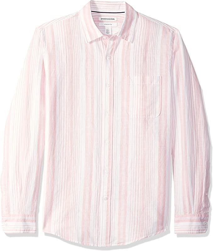 Camisa de lino con manga larga, corte entallado y estampado para hombre, color rosado stripe, talla M