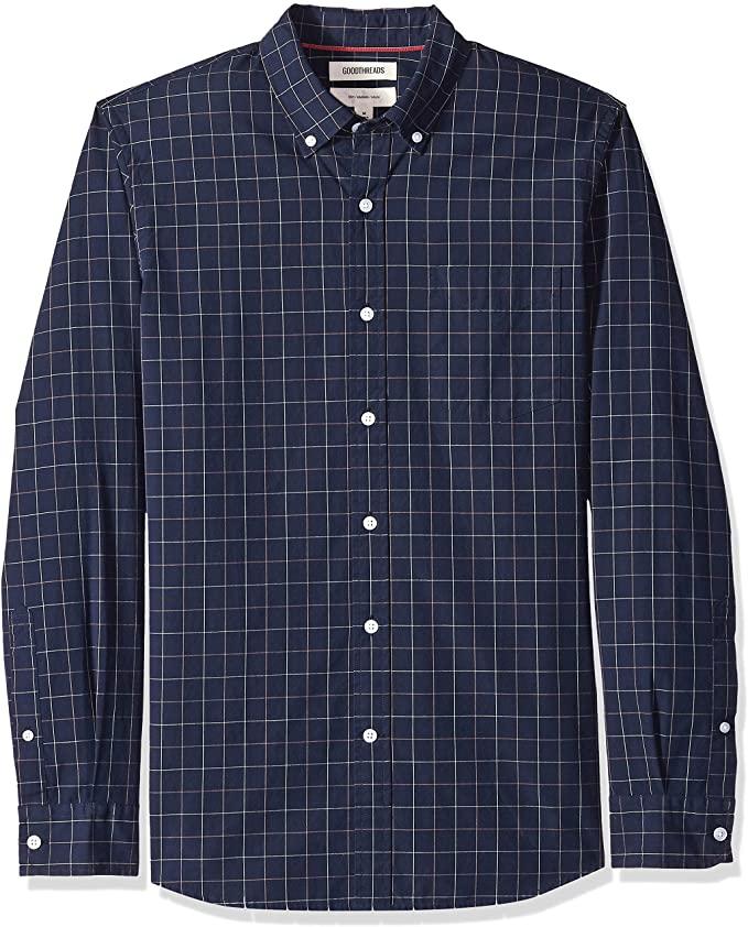 Camisa de vestir para hombre, Color: Azul (Navy Windowpane Win), talla XS