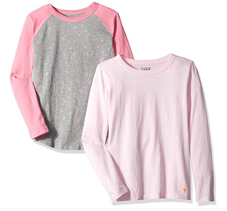 J. Crew - Camiseta de manga larga para niña, liso/estampado (2 unidades), color pink star pink, talla 128