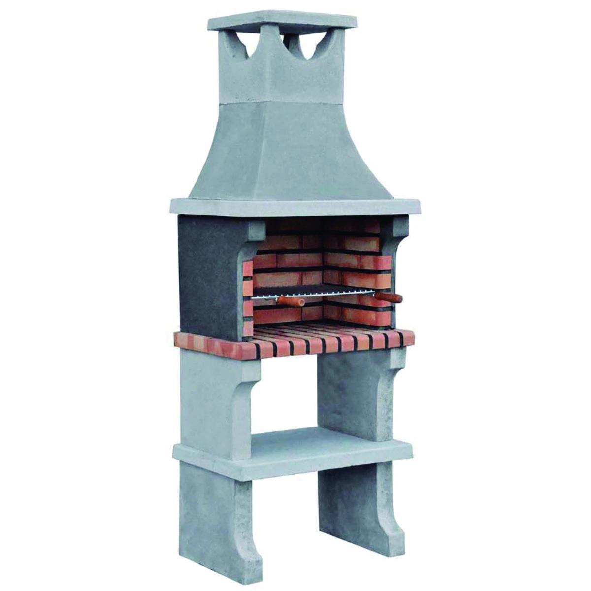 Barbacoa de obra para carbón y leña, compuesta de chimenea, encimera y repisa inferior.
